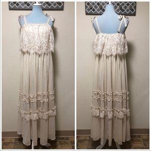 Torrid Insider Chiffon Dress Ivory Lace Maxi, 0X